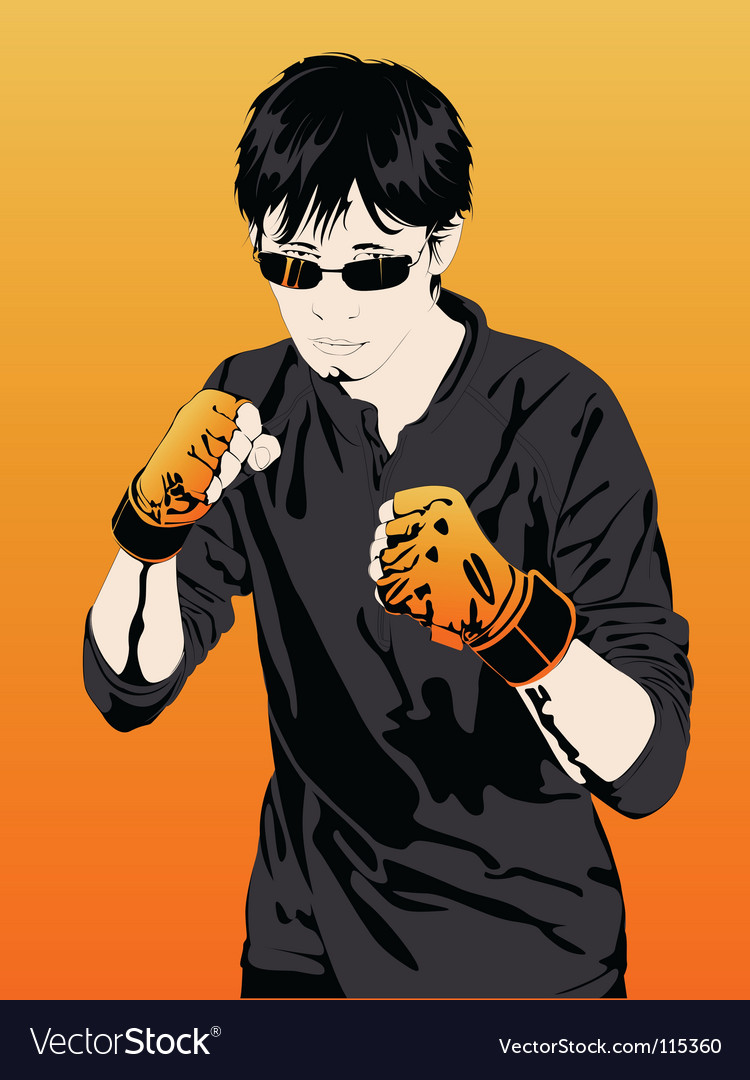 Young boy boxer extreme sports vector