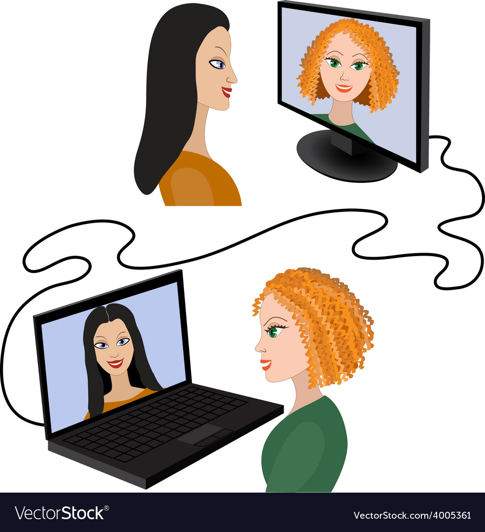 Two women having a video chat through the internet vector