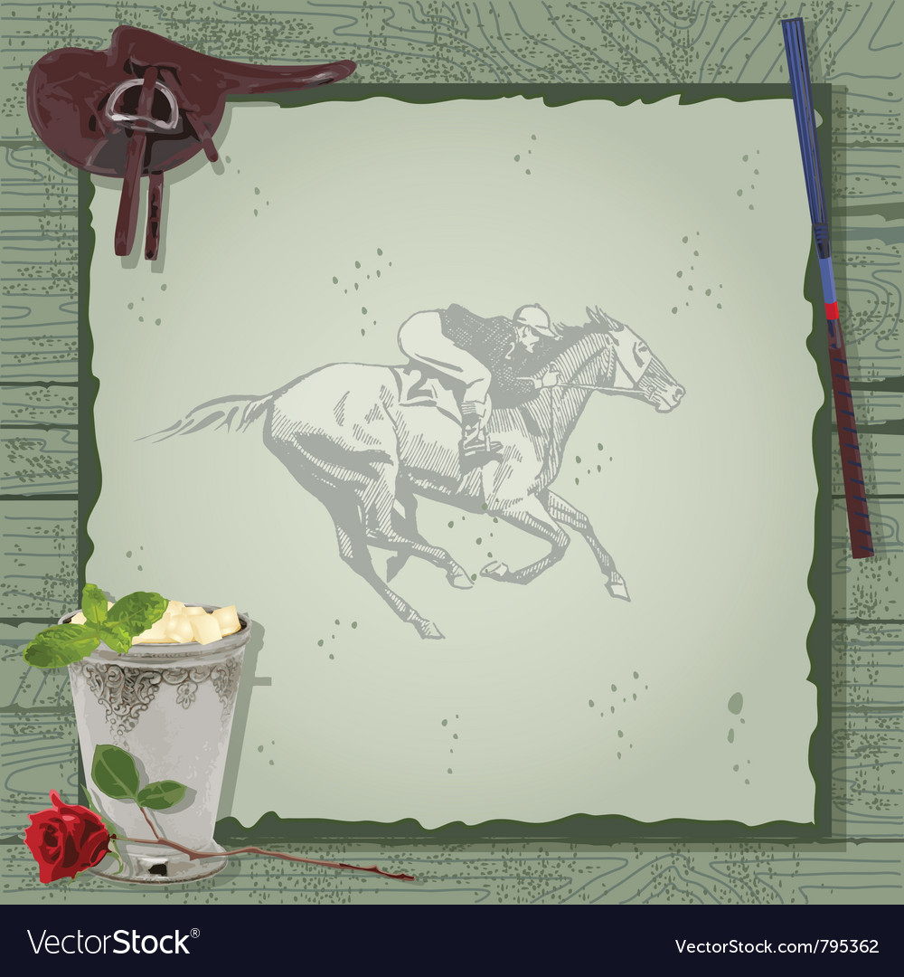 Horse racing party invitation vector