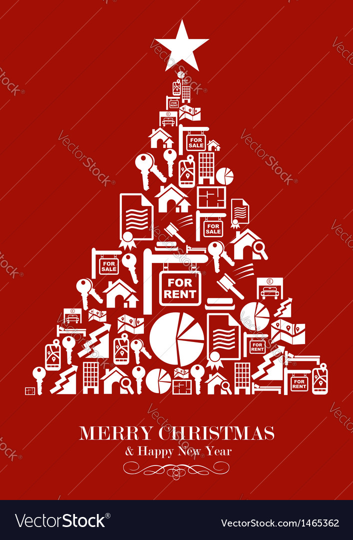 Real estate industry christmas tree vector