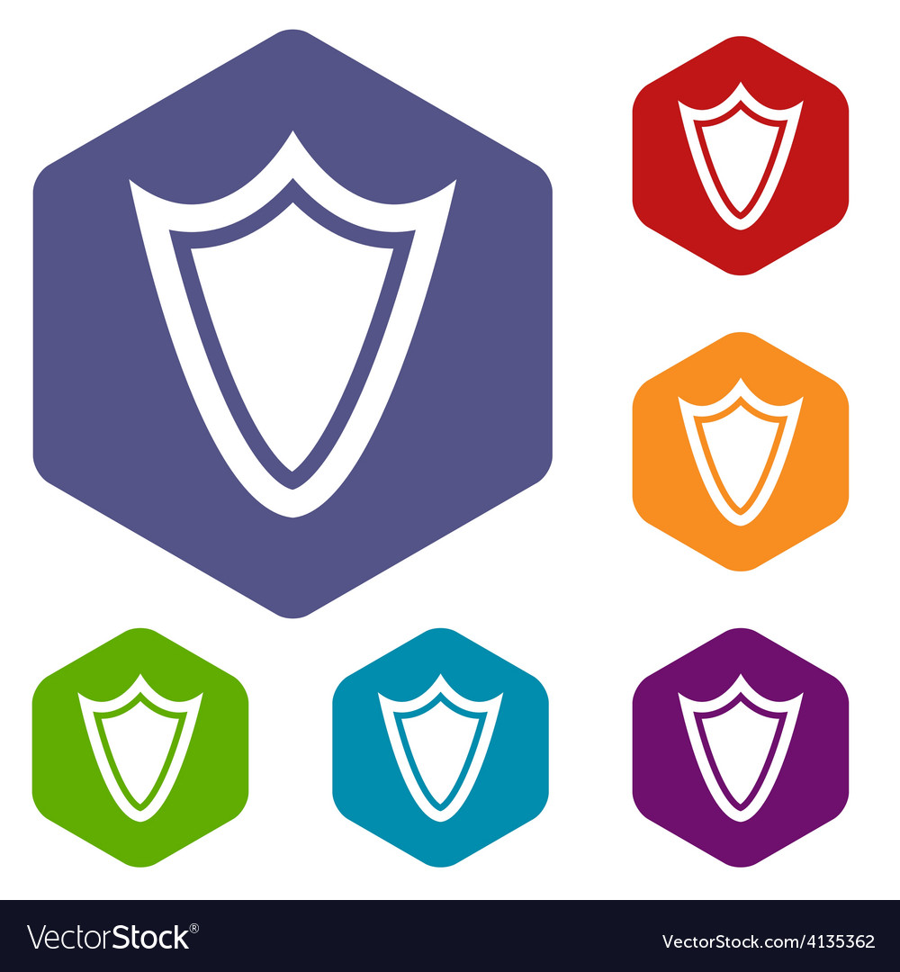 Shield rhombus icons vector