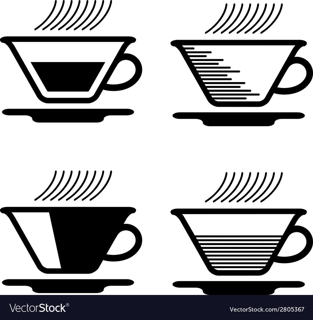 Black tea cup pictograms vector
