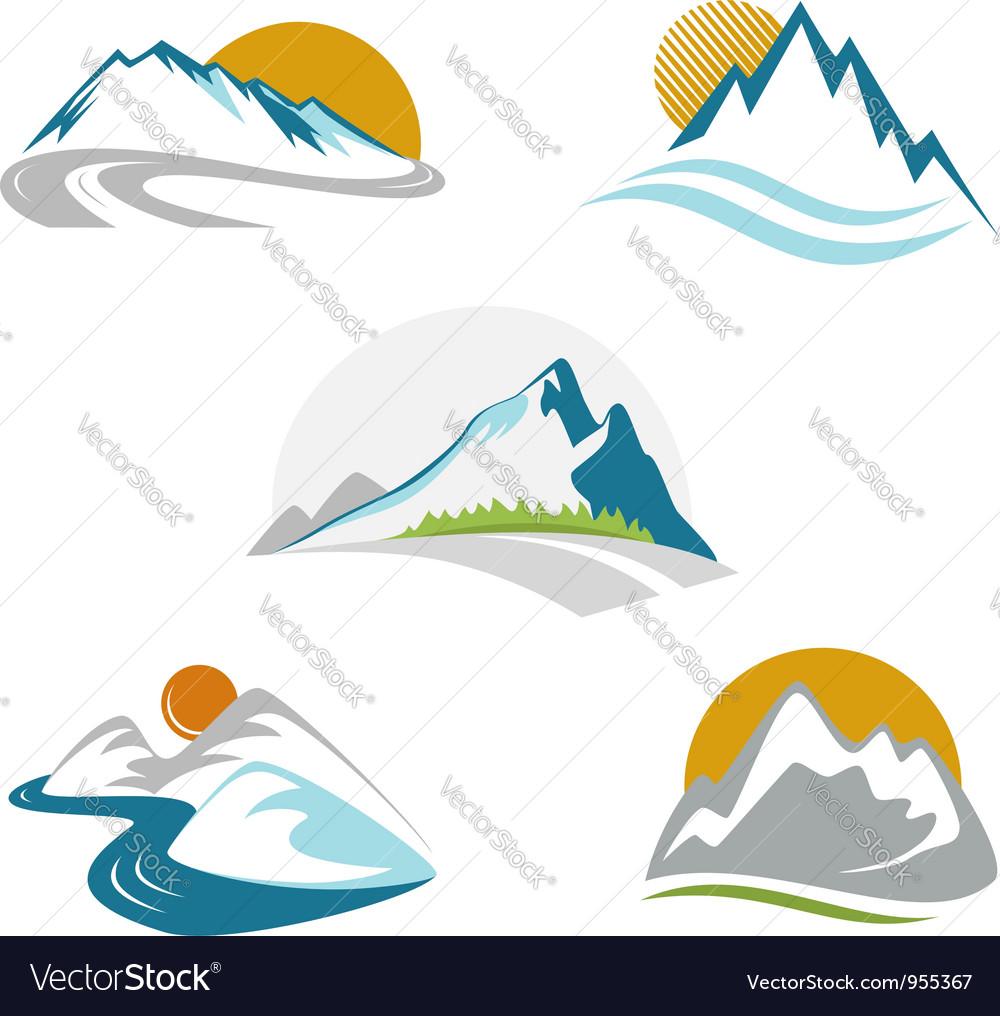 Blue mountains emblem set vector