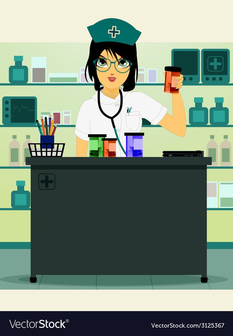 Doctor holding prescription bottle vector