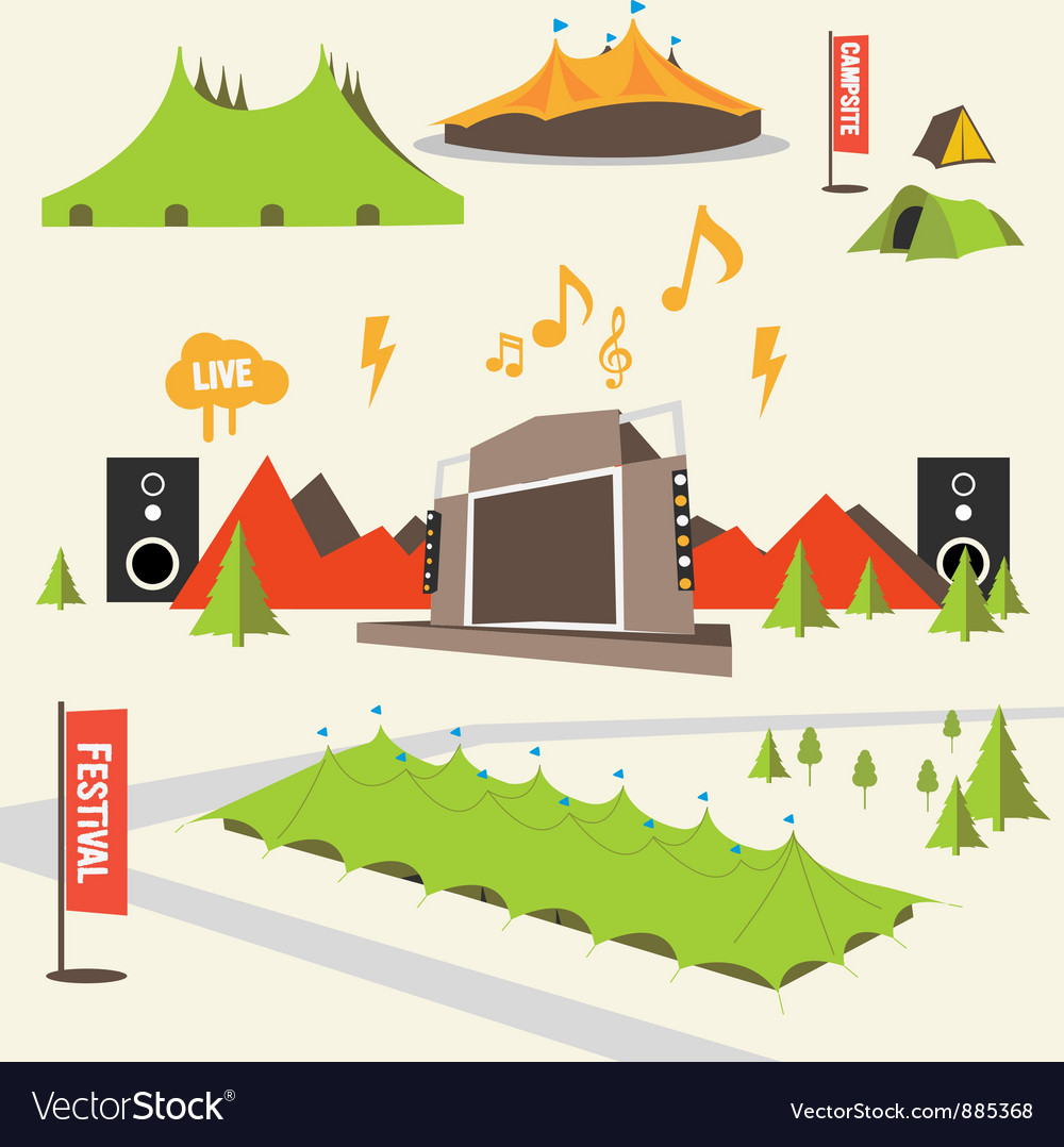 Summer music festival graphics vector