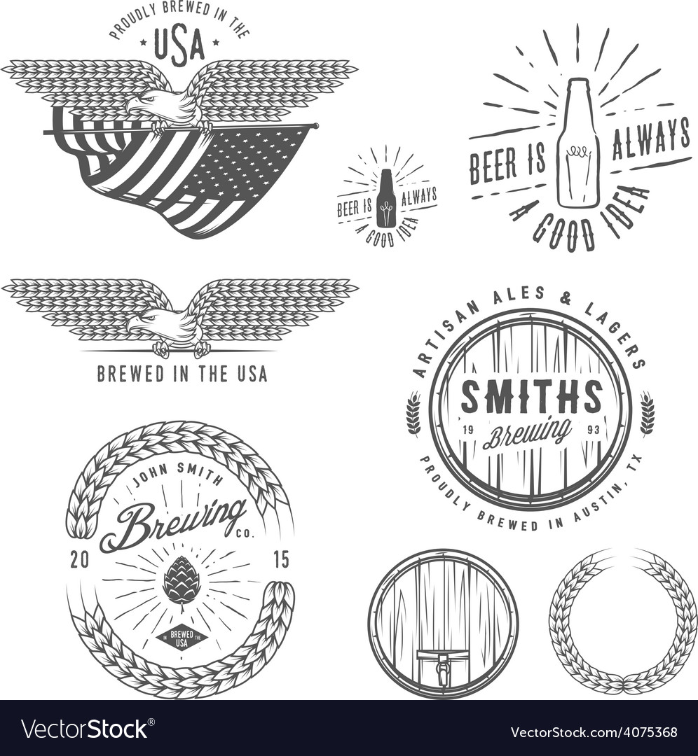 Vintage craft beer brewery design elements vector