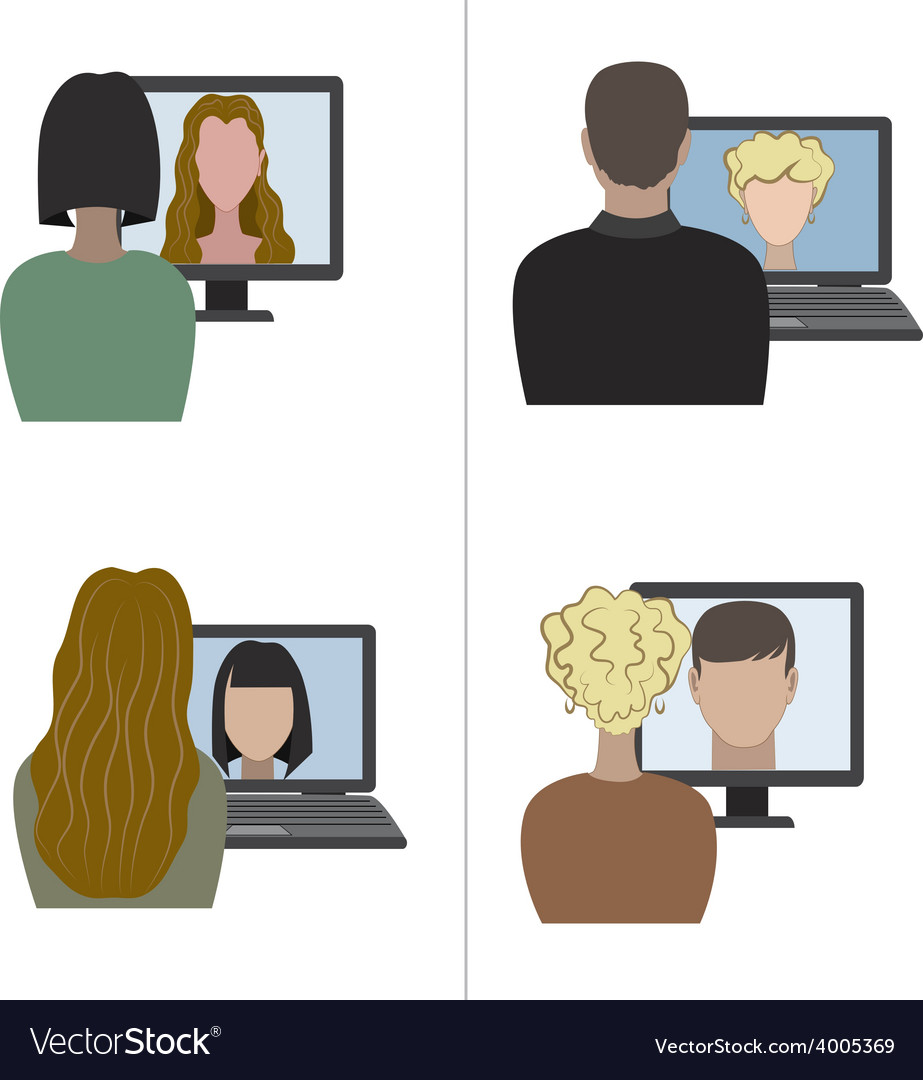 Two pair having a video chat through the internet vector