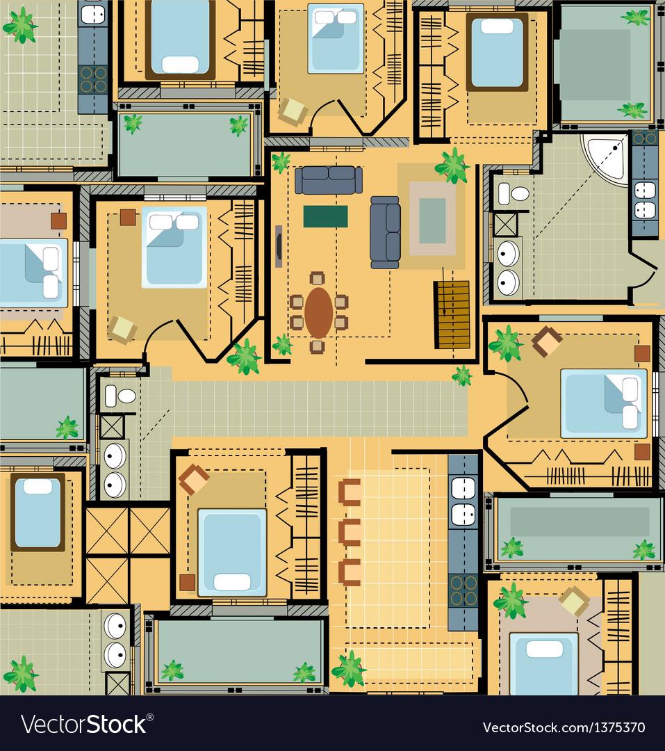 Color plan house vector