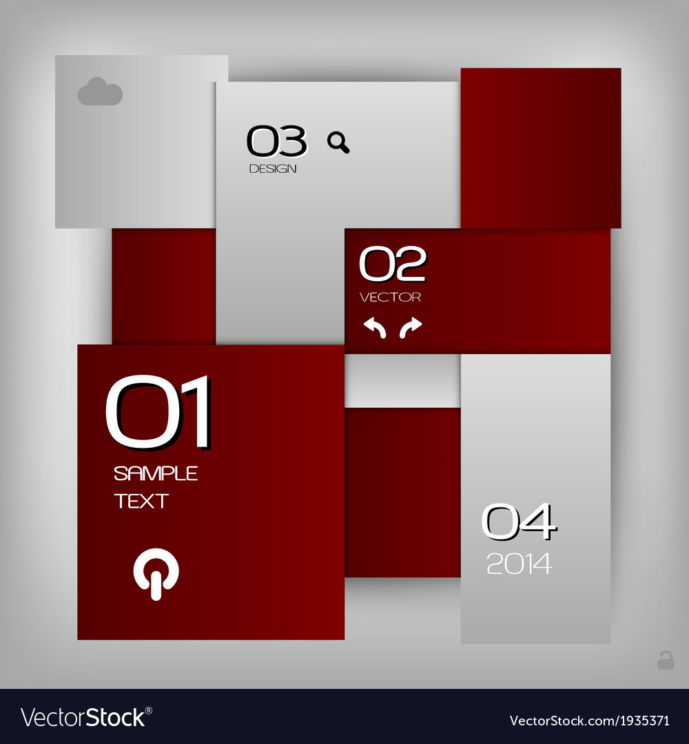 Business squares template red with text vector