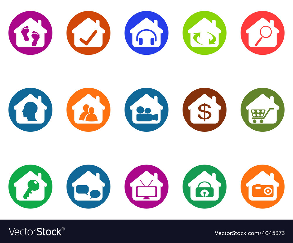 House real estate buttons icons set vector