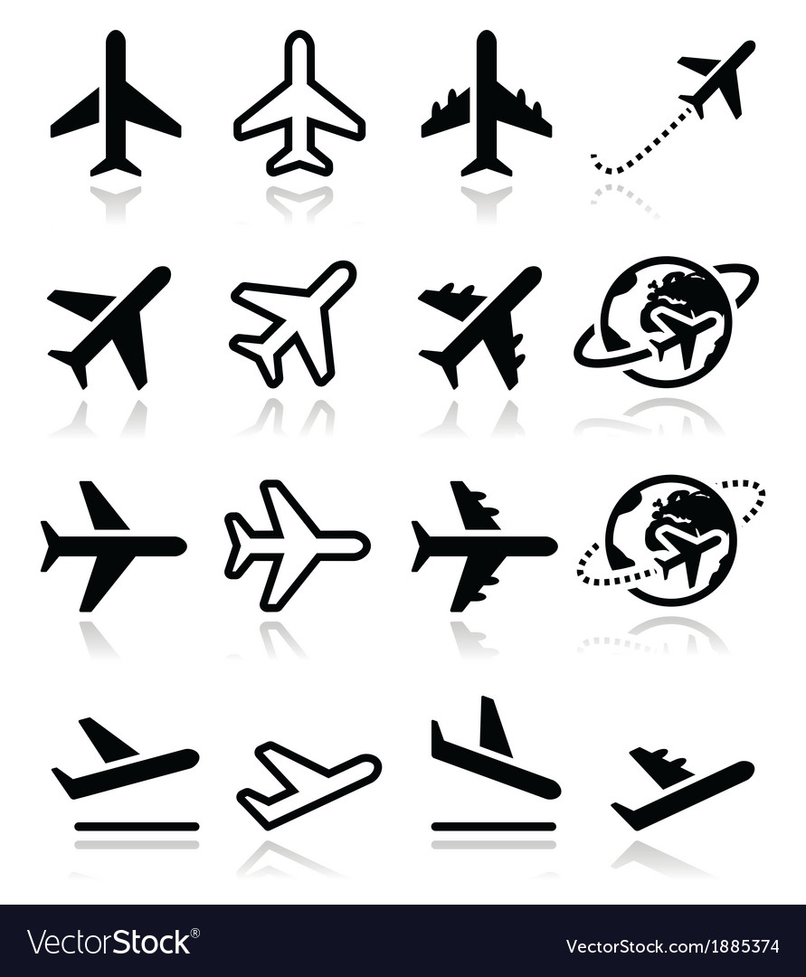 Plane flight airport icons set vector