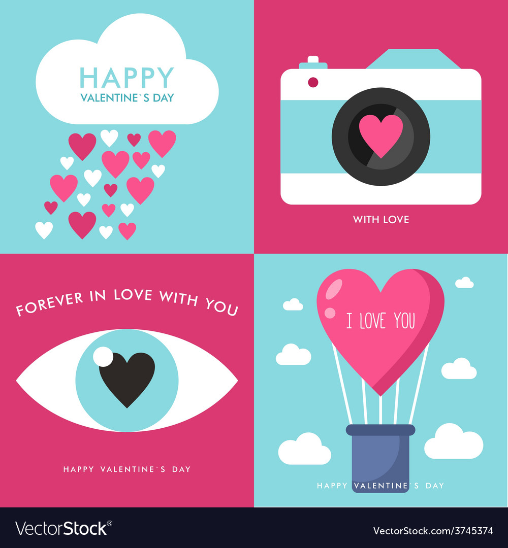 Set of st valentines day greeting cards in flat vector