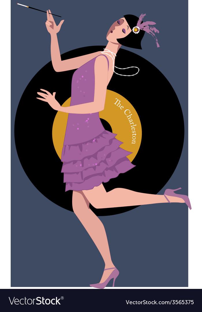 Flapper dancing the charleston vector