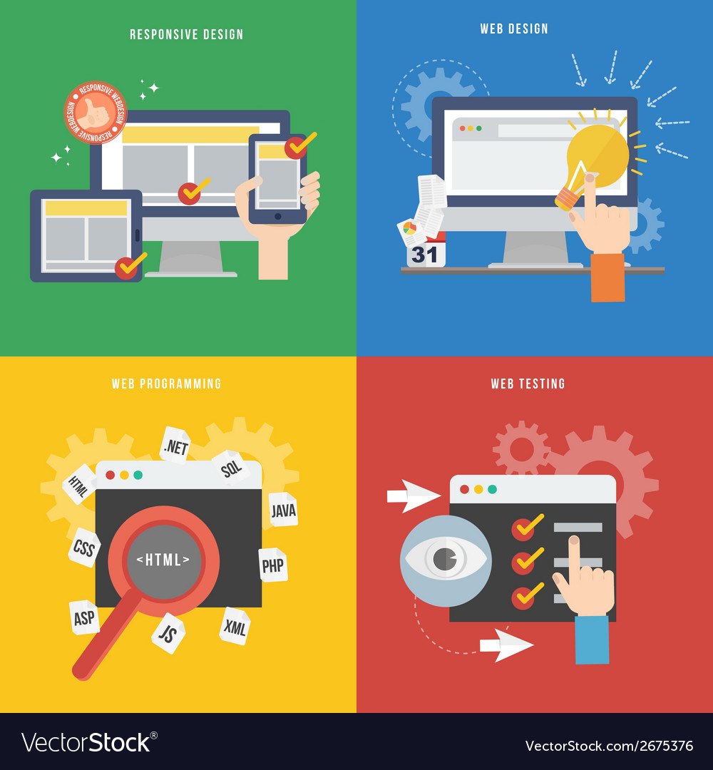 Element of web development concept icon in flat vector