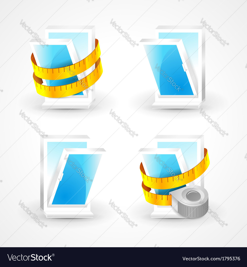 Windows plastic measurement element icons set vector
