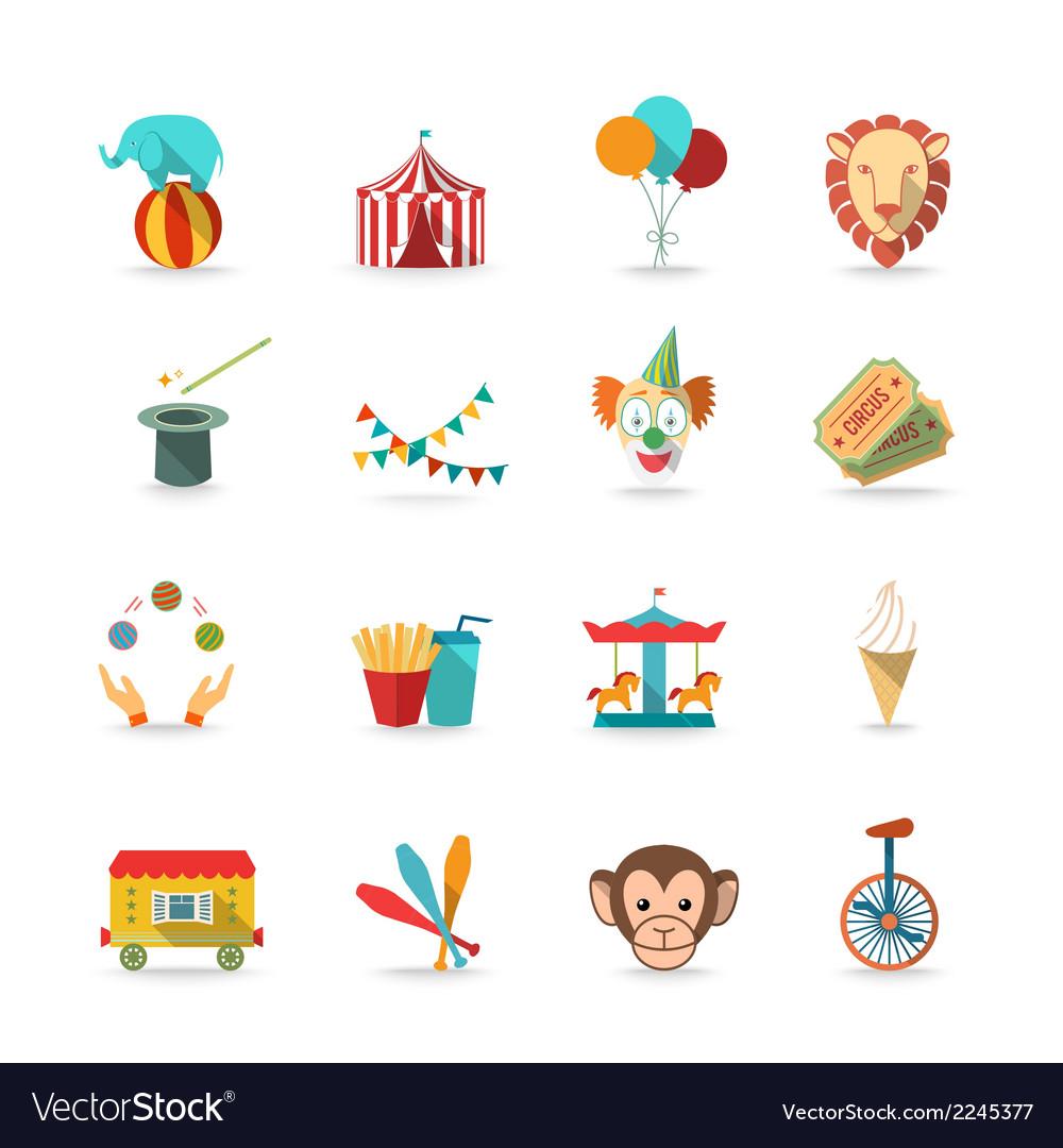 Circus icons set vector