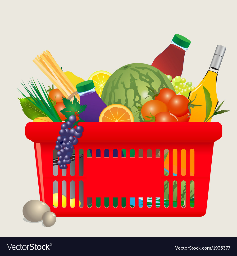 Mediterranean shopping cart vector