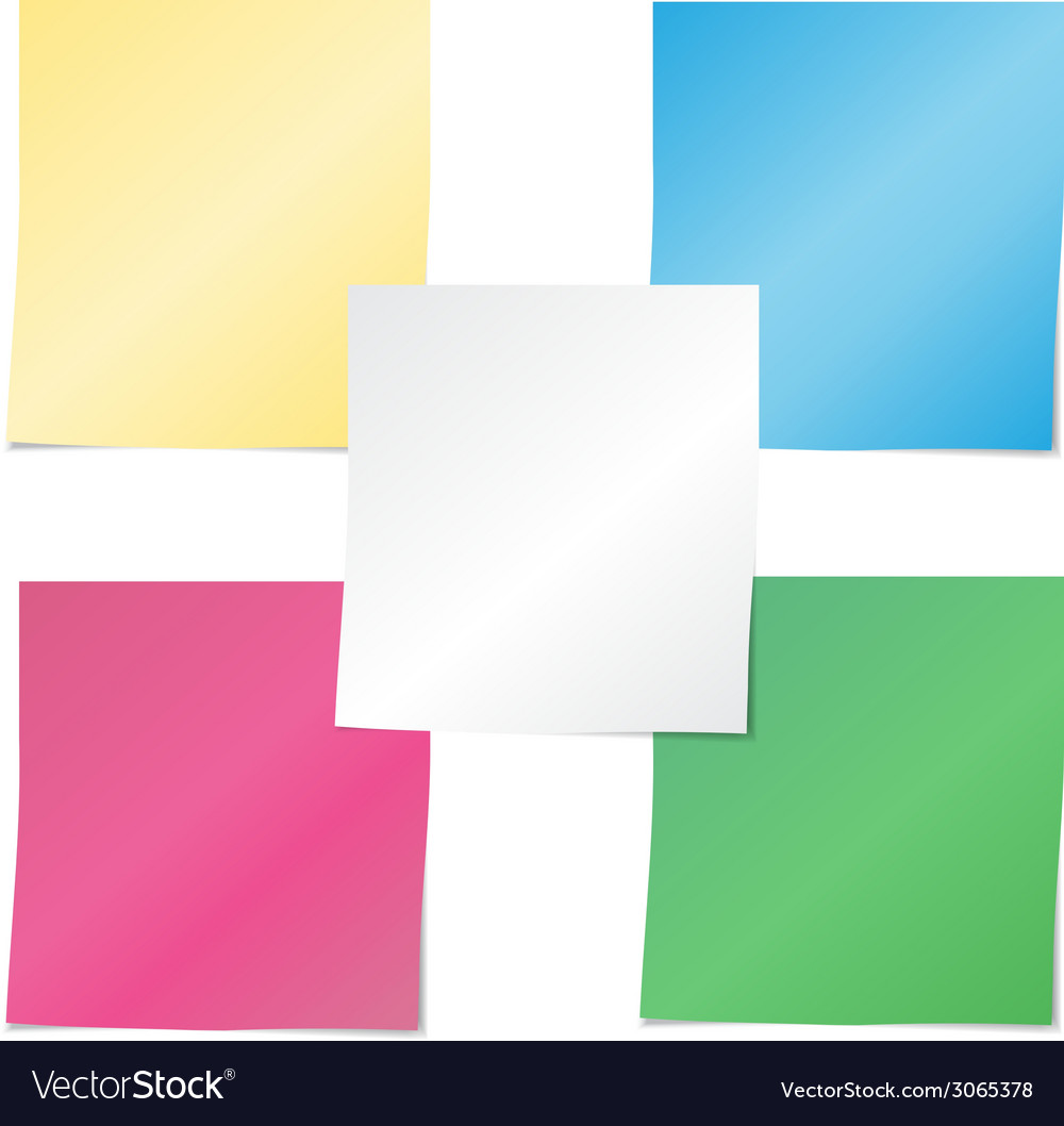 Colorful paper note stickers vector