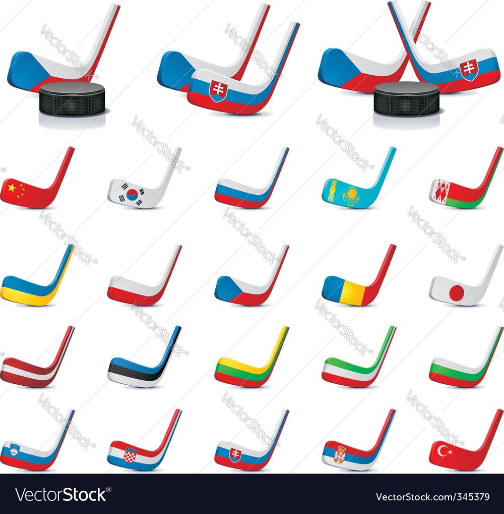 ice hockey sticks count vector