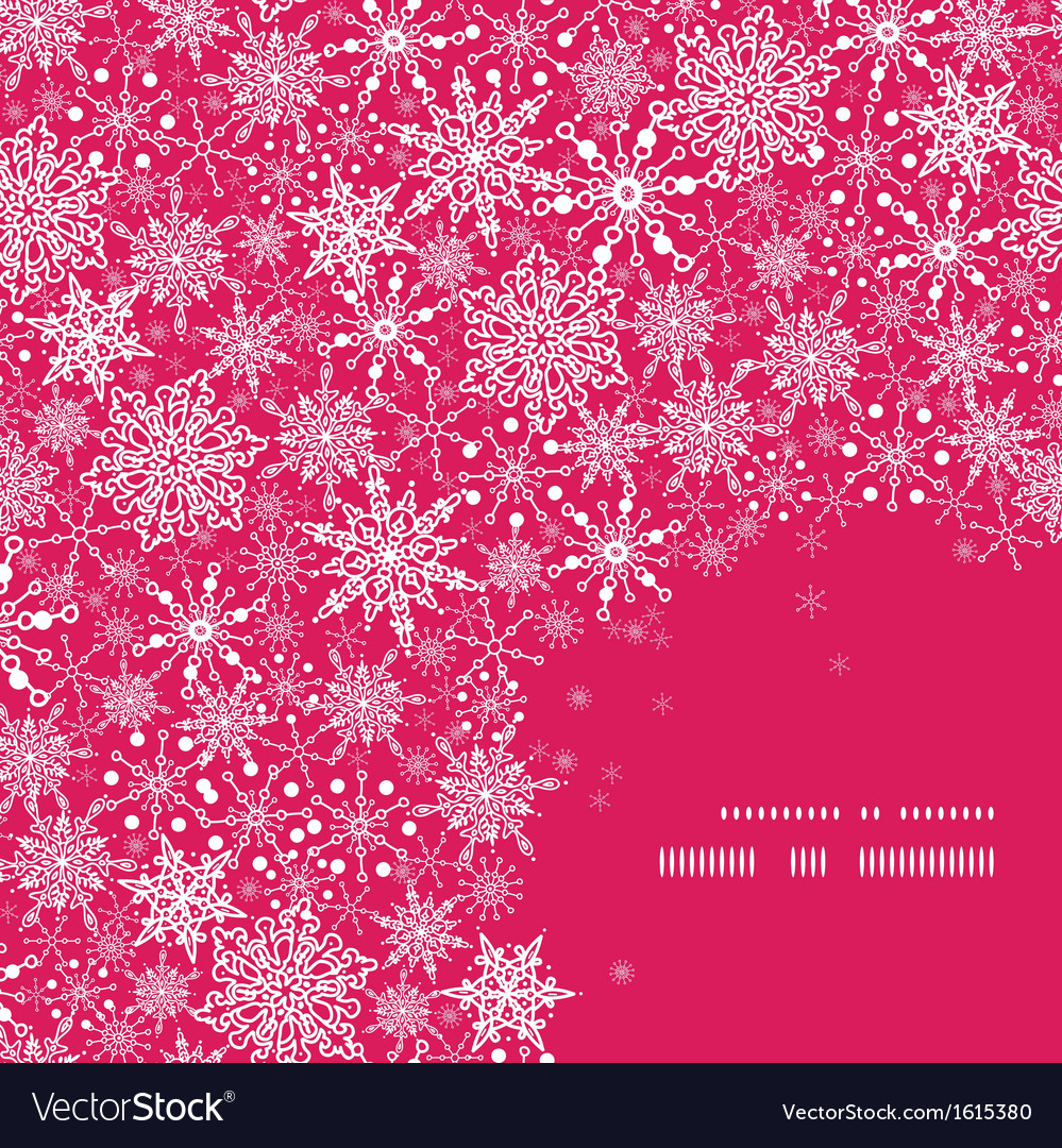 Snowflake texture corner frame pattern background vector
