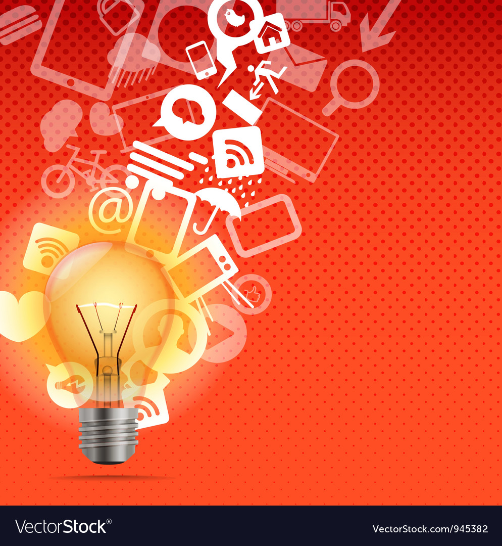 Bright lamp with media icons vector