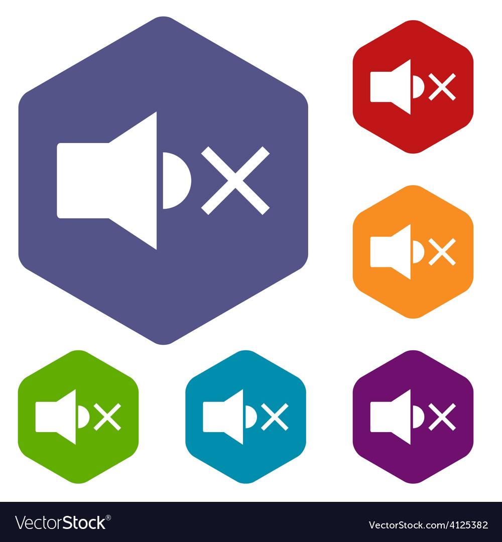 No sound rhombus icons vector