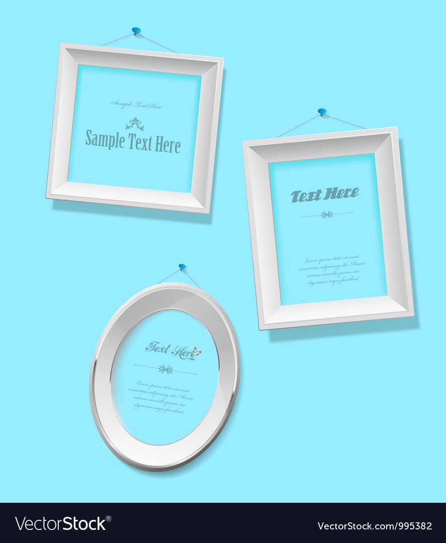 Set of empty picture frames for your own vector