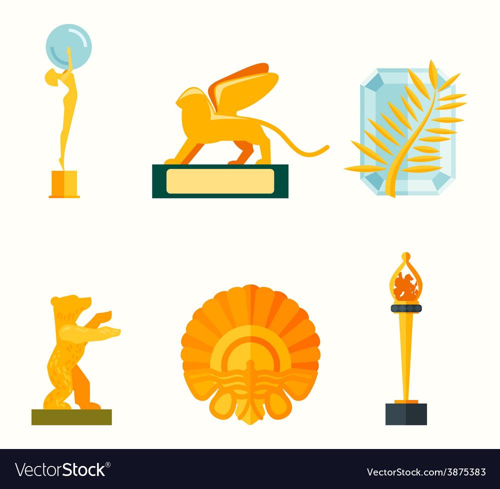 Flat design of set award success and vector