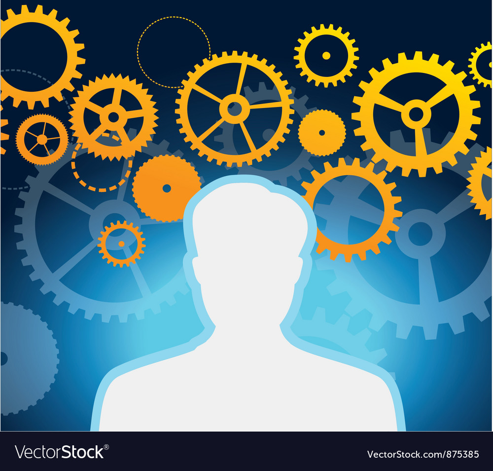 Male profile with gears and cogs - vector