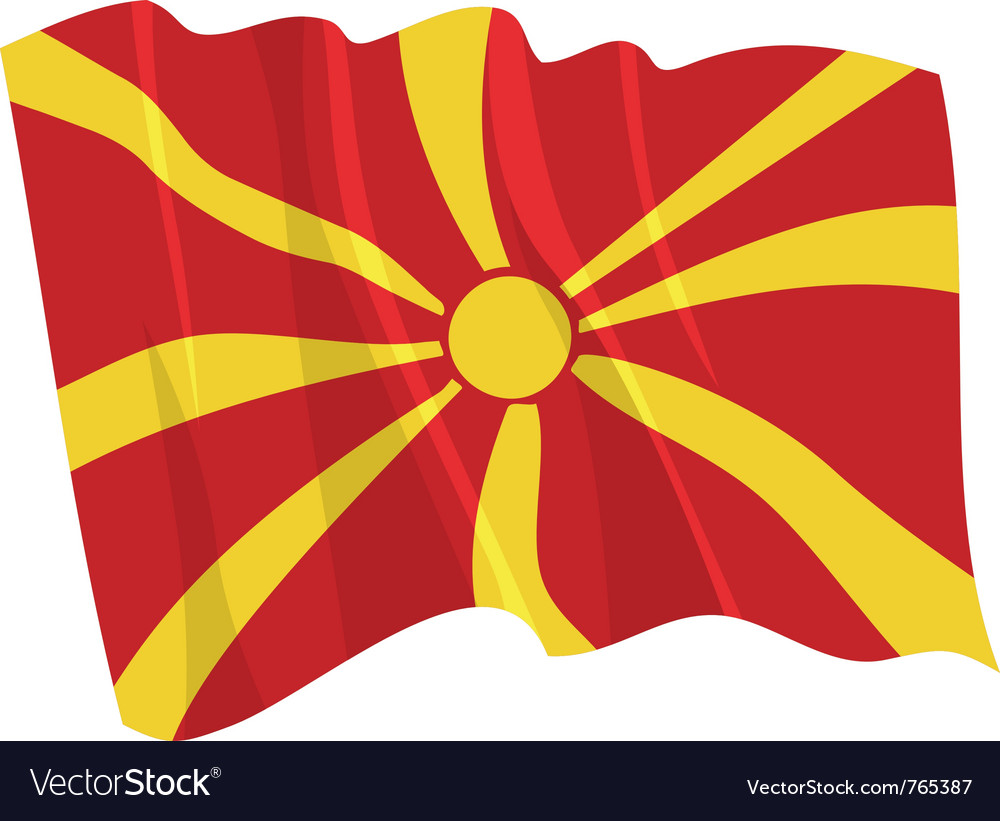 Political waving flag of macedonia vector