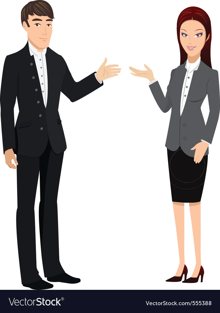 Man and woman presenting vector