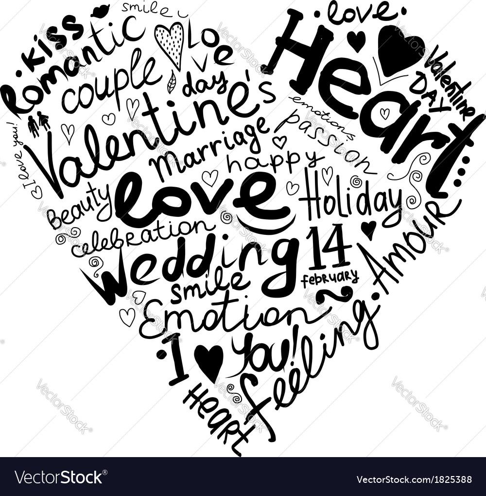 Valentine heart sketch for your design vector