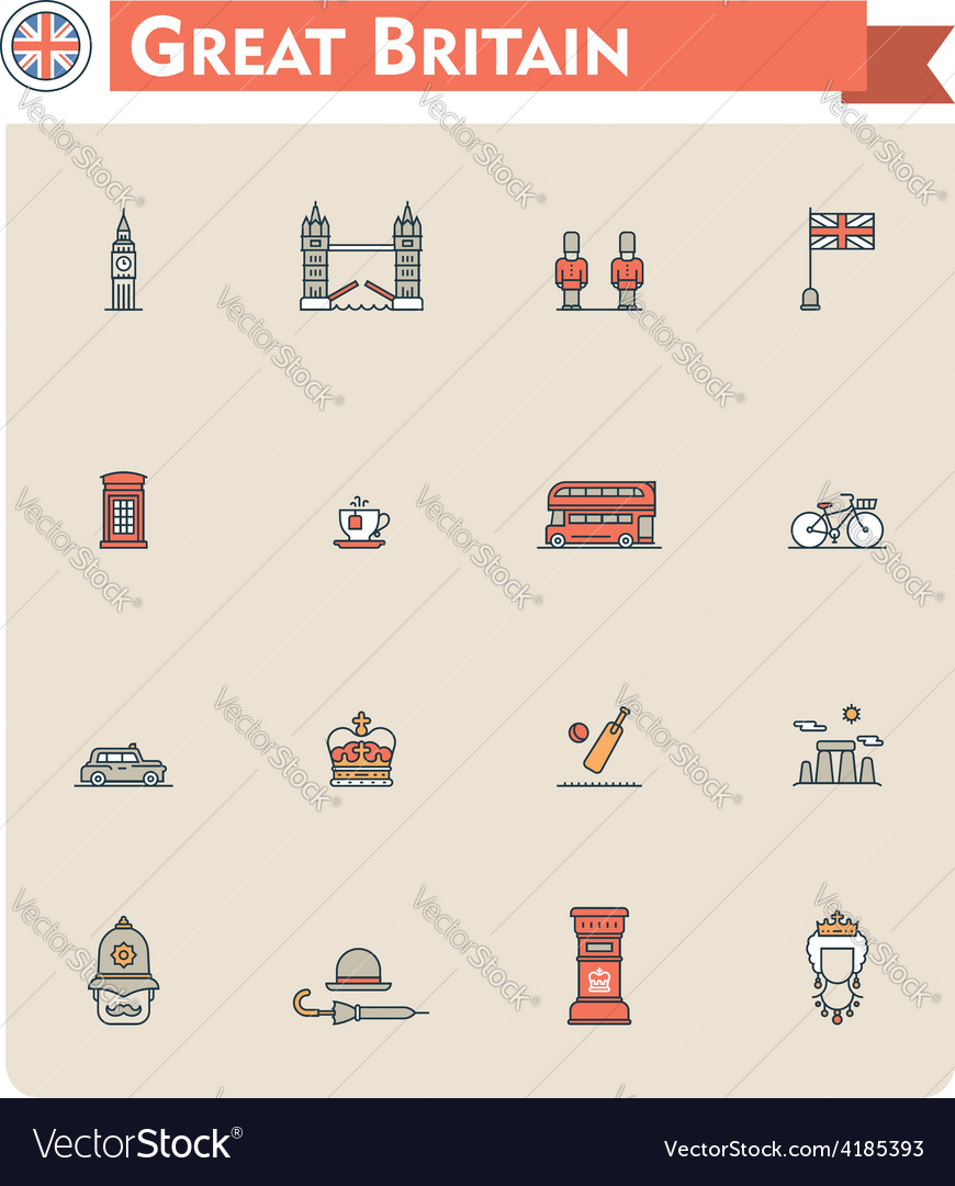 United kingdom travel icon set vector