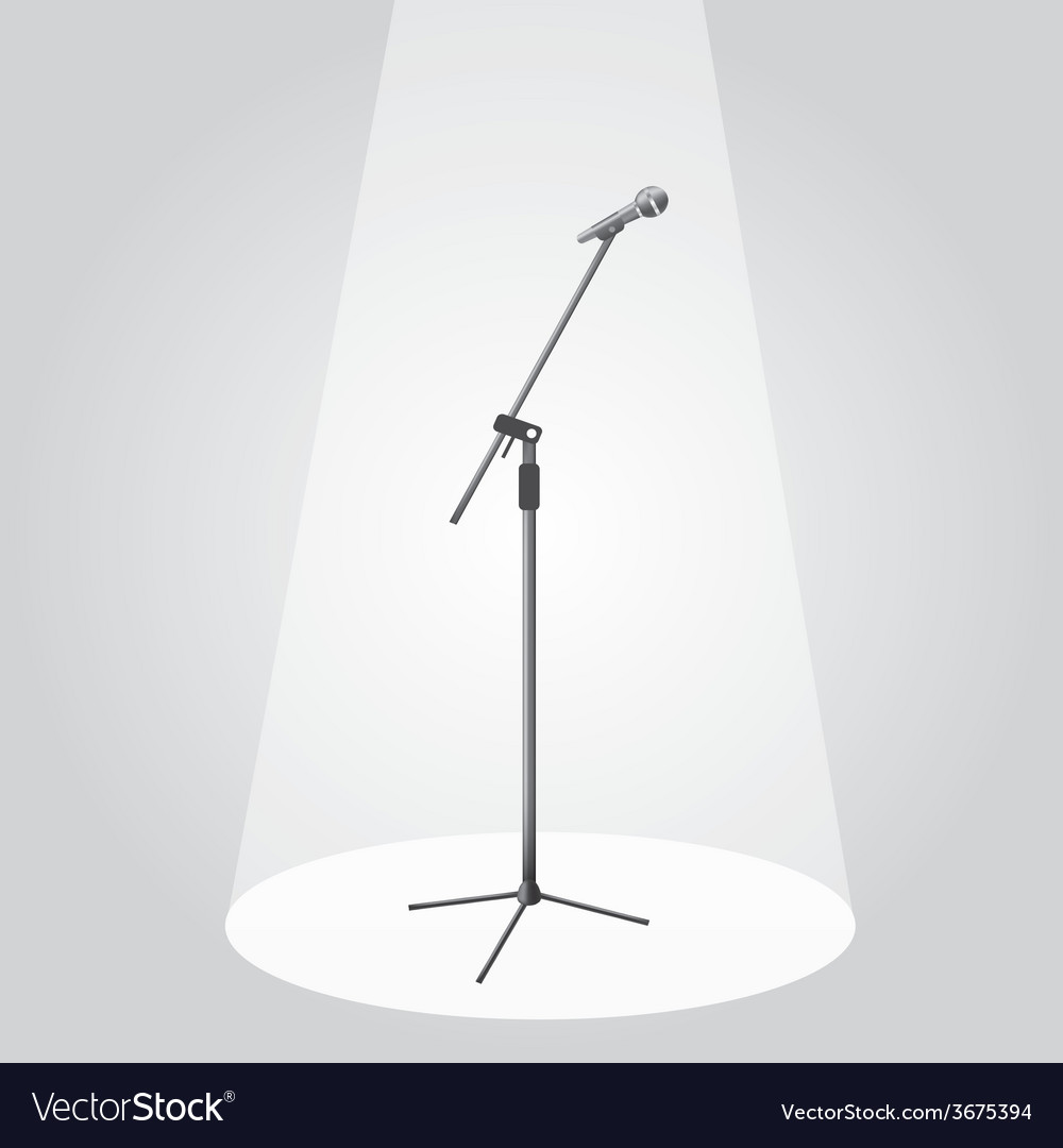 The microphone on the stage under the spotlights vector