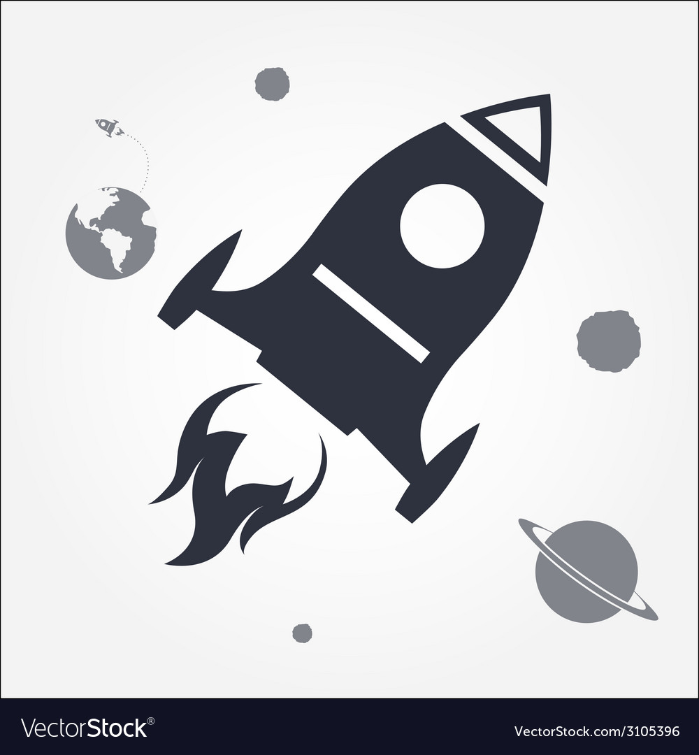 Rocket launch icon vector
