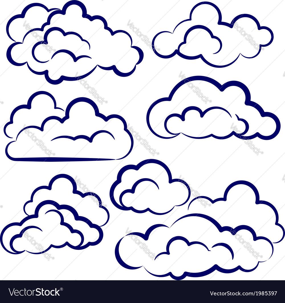 Clouds collection sketch cartoon vector