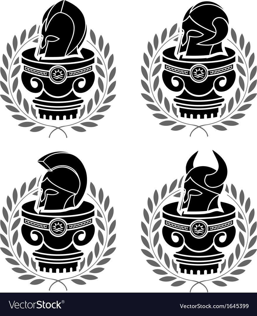 Set of medieval helmets vector