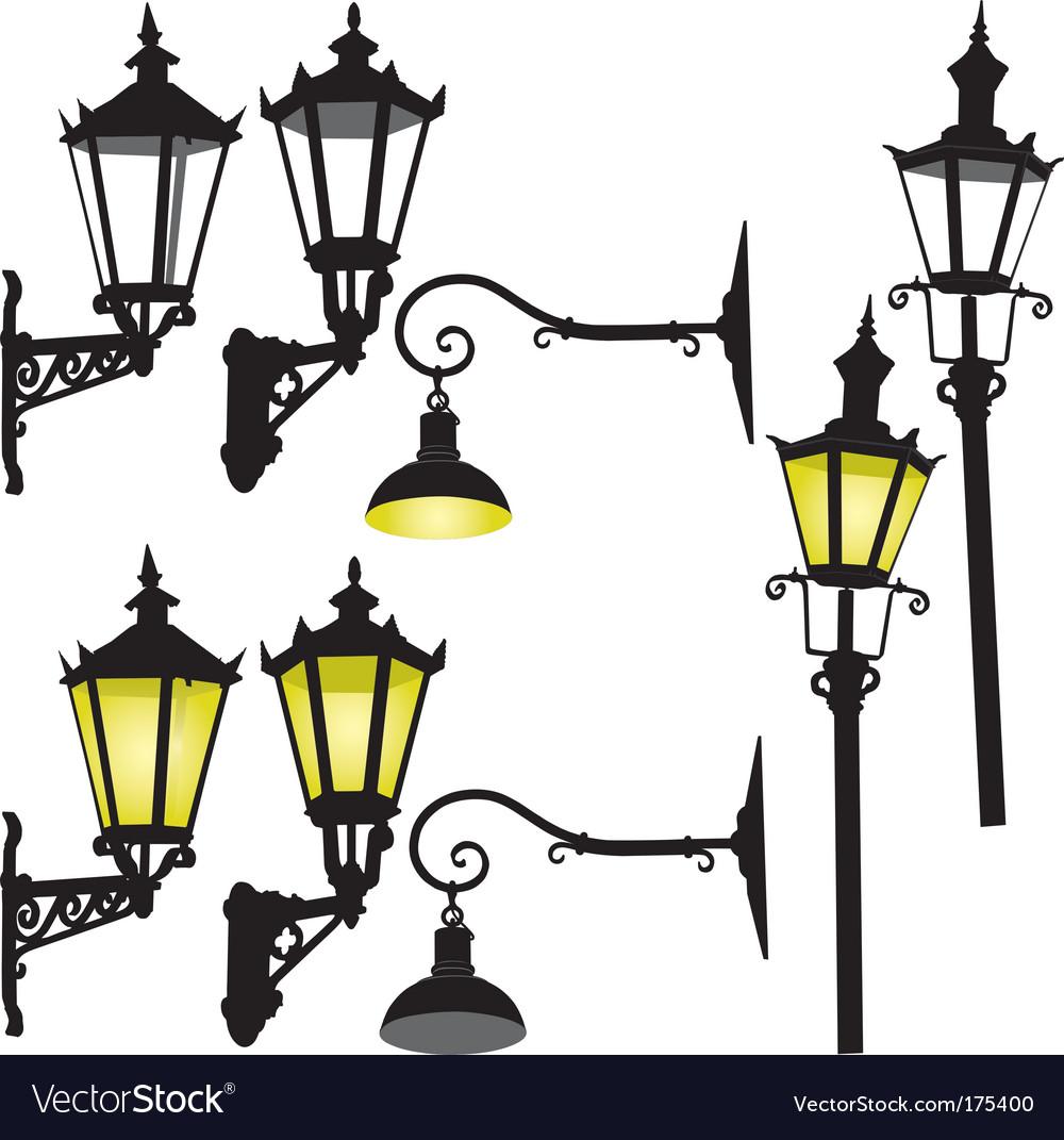 Retro street lamp and lantern vector