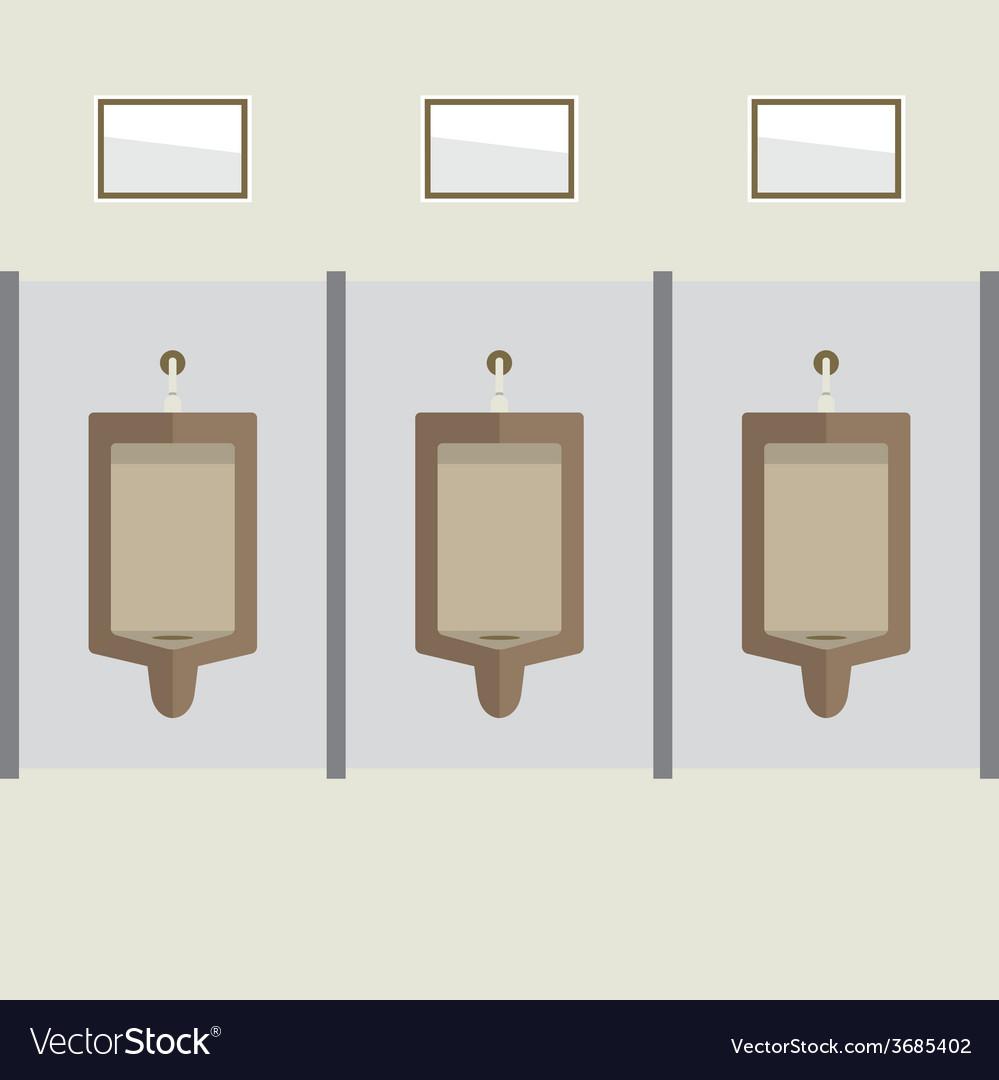 Flat design mens urinal row vector