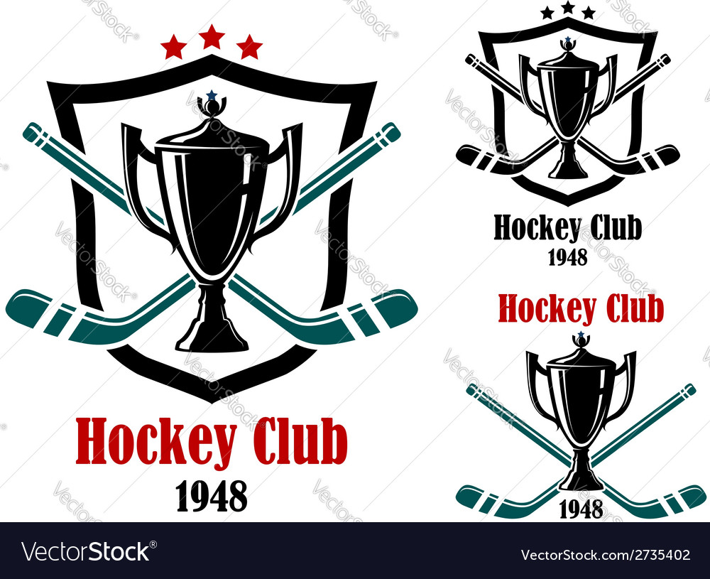 Ice hockey sporting symbols and emblems vector