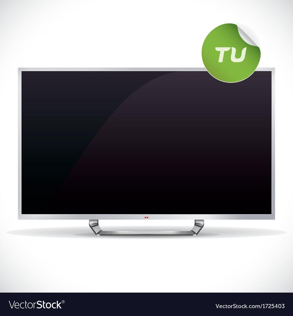 Black glossy lcd tv vector