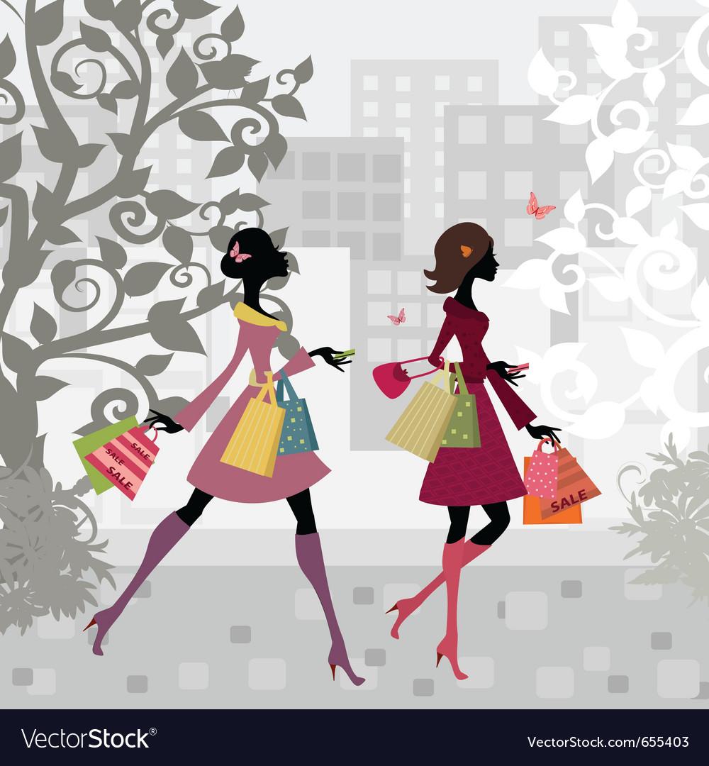 Fashion shopping city girls vector
