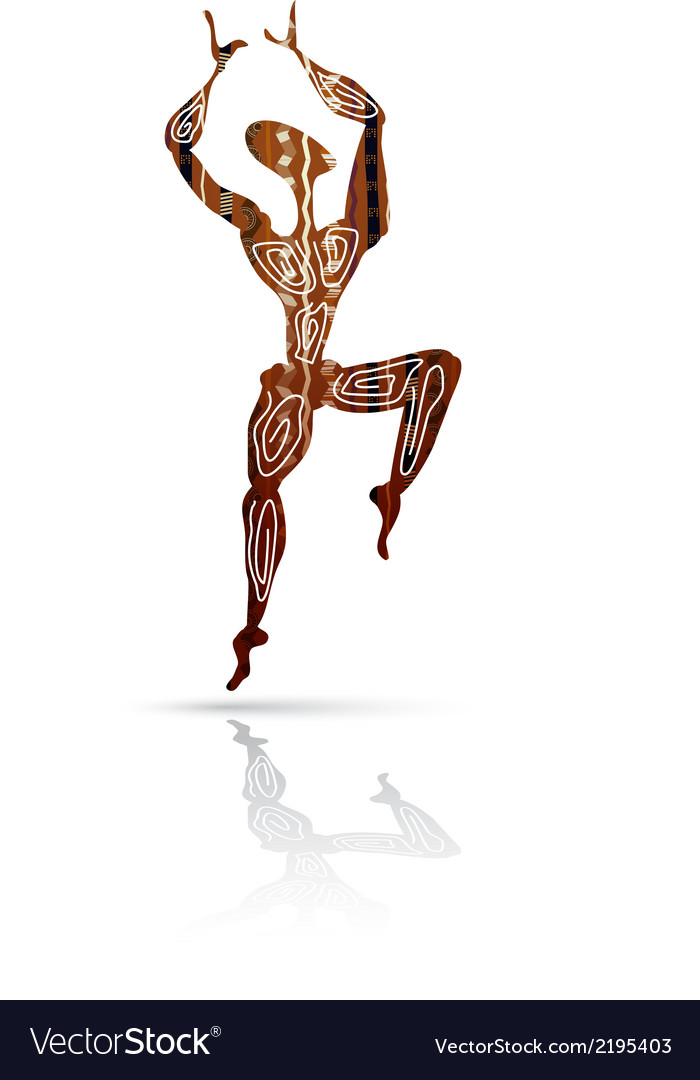 Silhouette of dancing men in ethnic style vector