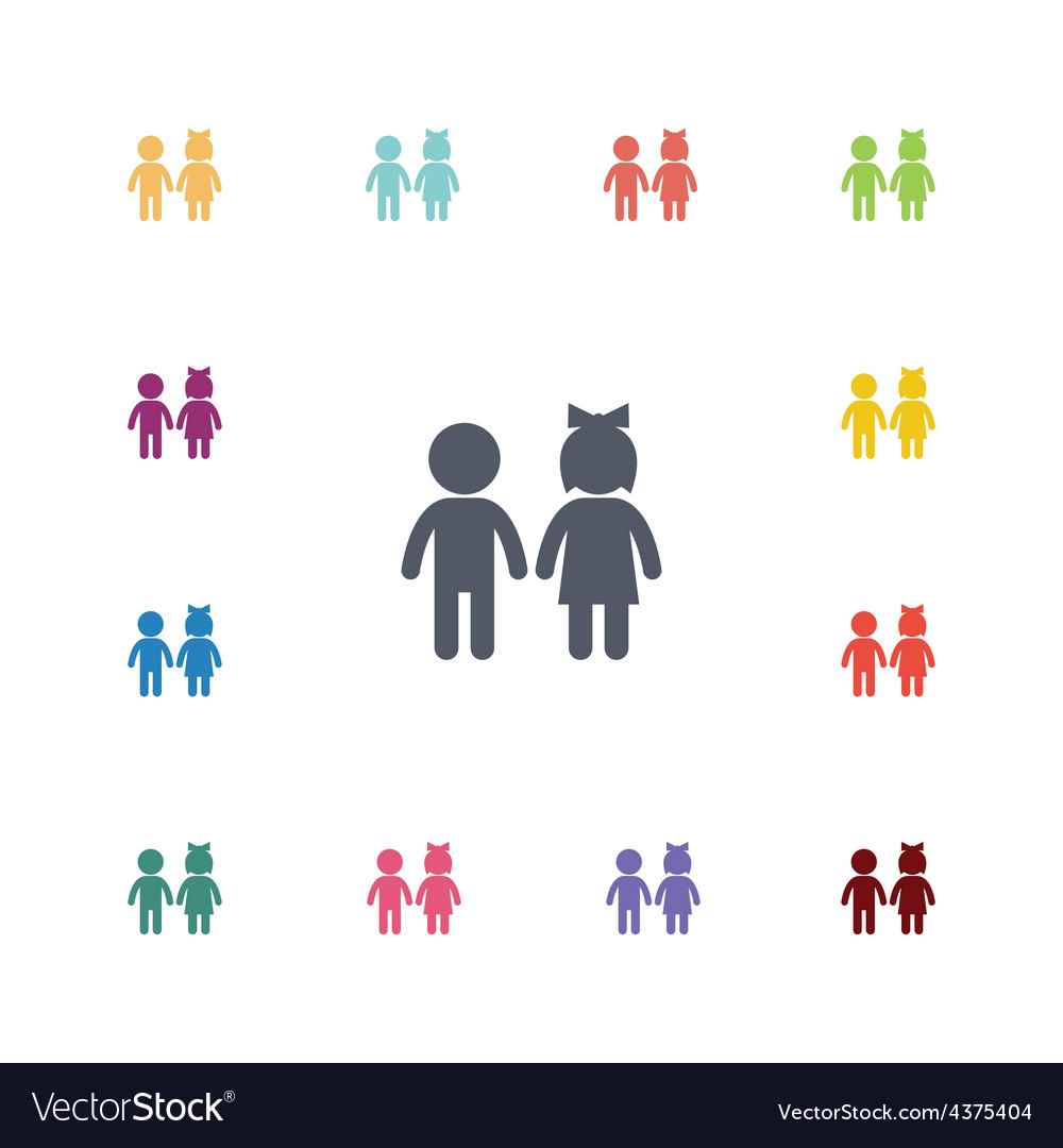 Girl and boy flat icons set vector
