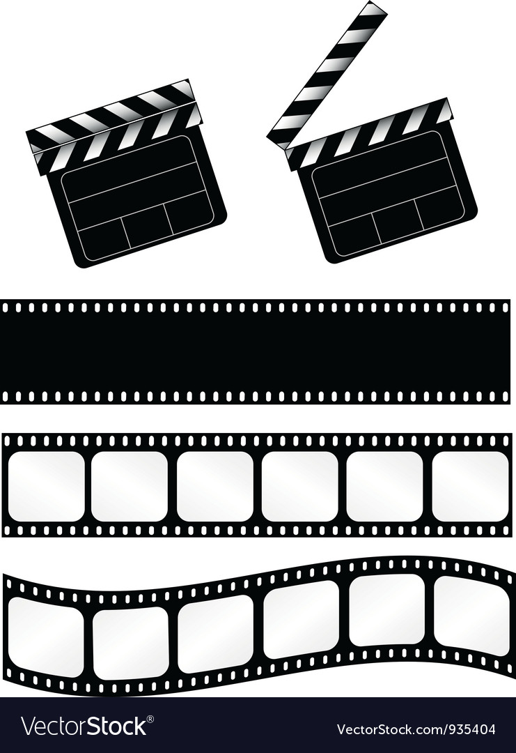 Movie clapper with 3 film strips vector