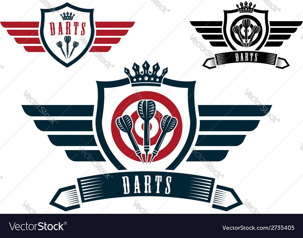 Darts sporting emblems vector