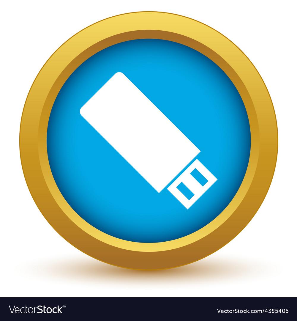 Gold usb stick icon vector
