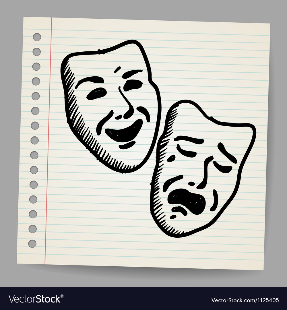 Scribble theater masks vector