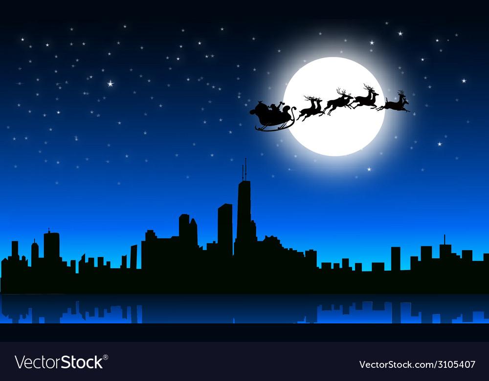 Santa sleigh in christmas night on city- vector