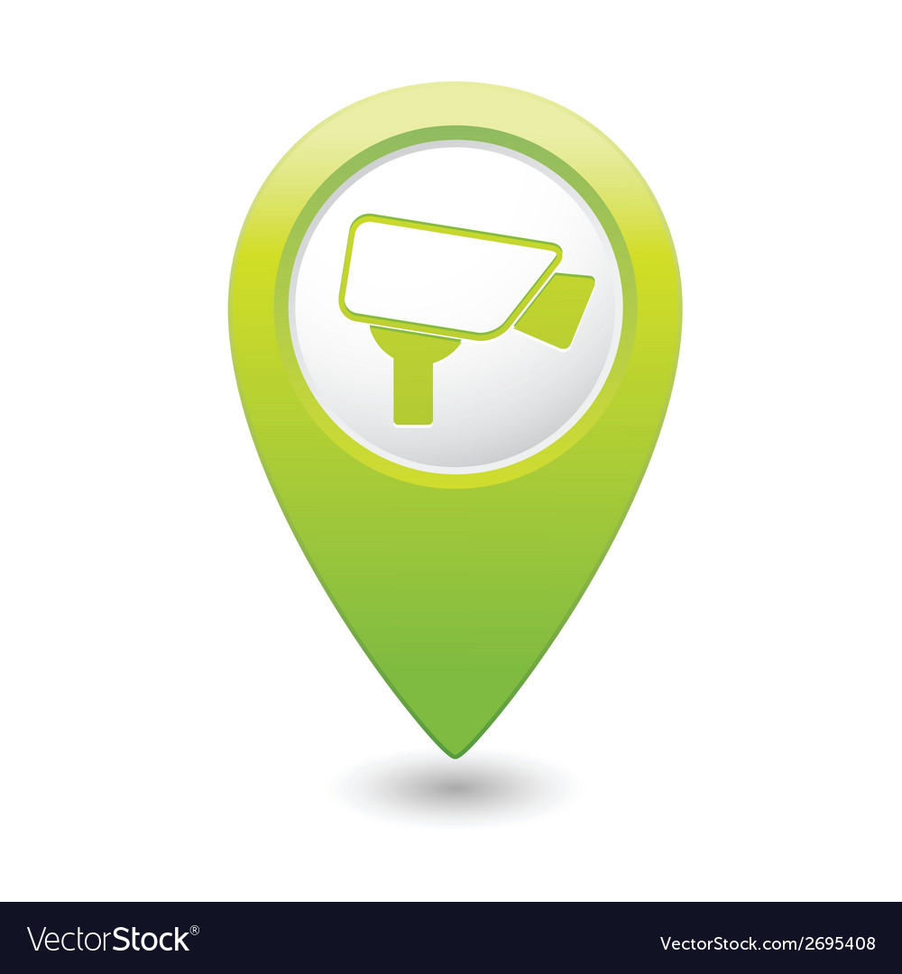 Camera icon green map pointer vector